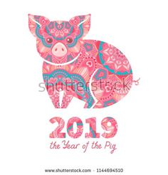 Pig is a symbol of the 2019 Chinese New Year. Decorative ornamented zodiac sign Pig on white background Illustration , Chinese New Year Card, Chinese New Year Crafts, 2019 Chinese Zodiac, Chinese Christmas, New Years Eve Day, Pig Images, Asian Party, Merry Christmas Funny, Pig Illustration