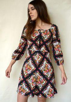 1970's Vintage Hippie Folk Floral Print Mini Dress