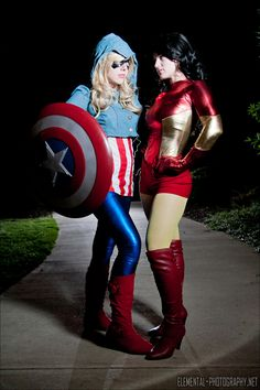 Lady Cap and Iron Woman Avengers Costumes, Captain America Cosplay, Character Inspired Outfits, Best Cosplay, Awesome Cosplay, Steampunk Cosplay, Marvel Cosplay, Miss America, Superhero Party