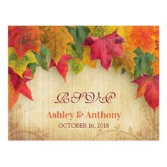Maple Leaves Wedding Fall Autumn RSVP Postcard - postcard post card postcards unique diy cyo customize personalize
