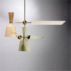 Mario Tedeschi; Brass and Enameled Metal Ceiling Light for Arredoluce, 1952.