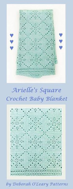 Arielle's Square - Crochet Baby Blanket Pattern by Deborah O'Leary Patterns #crochet #baby #blanket #patterns #nursery #deboraholearypatterns