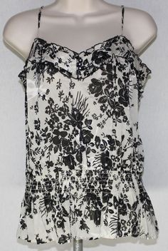 Bebe Top Silk Blend Small Floral Spaghetti Strap Tank Rhinestones Blouse Shirt #bebe #silk #floral #spaghetti #blouse #top