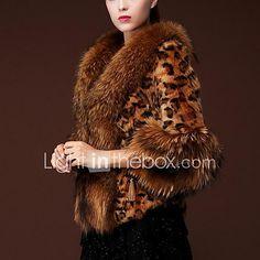 Cappotto di pelliccia Da donna Casual Glamour Inverno,Leopardata Colletto alla Peter Pan PU (Poliuretano) Corto del 2017 a €41.73