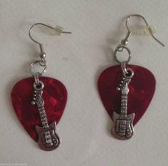 "Guitar Earrings Guitar Pick Music Country Hip  Handmade Dangle Hooks  2.25"" L #Handmade #DropDangle"