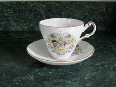 Vintage Regency English Bone China Cup and Saucer - Princess Diana and Prince Charles