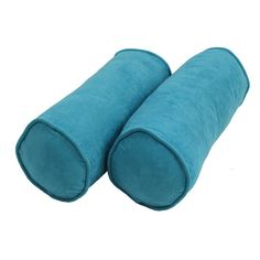 Blazing Needles Microsuede Bolster Pillows with Cording and Inserts - Set of 2 Aqua Blue - 9814-S2-CD-MS-AB