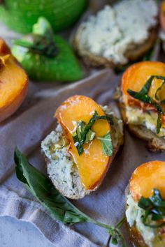 Peach bruschetta with goat cheese, basil and infused honey