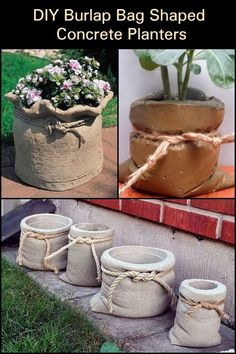 These DIY burlap bag-shaped planters will look good in your garden! Cement Flower Pots, Diy Concrete Planters, Cement Pots, Concrete Garden, Diy Planters, Diy Burlap Bags, Concrete Crafts, Concrete Projects, Concrete Bags