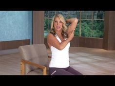 Denise Austin: Total Body Toning- Office Workout is an amazing head-to-toe stretching series that was created in order to engage your core, align your spine,. Denise Austin, Desk Workout, Workout At Work, Total Body Toning, Tight Shoulders, Office Exercise, Chair Exercises, Easy Workouts, Fitness Workouts