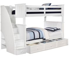 Allen House Furniture Brandon Full over Full Bunk Bed with Stairs in White Finish