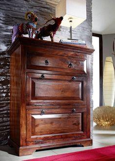 Kolonial Kommode Akazie Massiv Holz Oxford #904