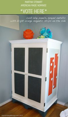 Refinished Armoire with Cork inserts and magnetic side panels: Juvenile Hall Design; creators of kids room design & decor.  Please support us with your vote! #juvenilehalldesign http://www.marthastewart.com/americanmade/nominee/80332?xsc=SOC_AM_NomFB