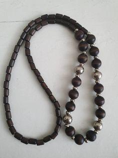 "Finnish Aarikka necklace ""Oodi"" from the Marimekko, Wooden Beads, Turquoise Necklace, Brown, Bracelets, Etsy, Jewelry, Jewlery, Jewerly"