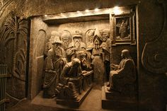 Salt carvings in the Wieliczka Salt Mine, located in the town of Wieliczka in southern Poland