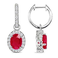 Ruby and diamond hoops in white gold