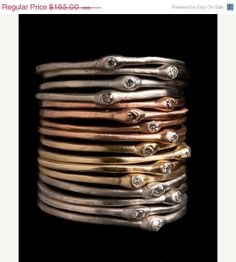 SALE Stacking Gold Diamond Rings and Stacking Silver by NIXIN, $140.25