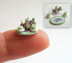 Miniature  1/4 scale Purple Jeweled Blossoms Tea Set OOAK by C. Rohal/  My favorite things tea and minis.