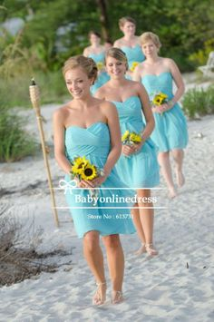 Free Shipping Beach Sweetheart Ruched Chiffon Short Blue Bridesmaid Dresses 2014 Brides Maid Dress Knee Length