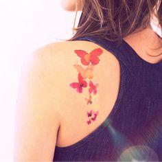 Aquarelle, vole papillon - tatouage temporaire InknArt - poignet devis tatouage autocollant faux tatouage petit tatouage de corps