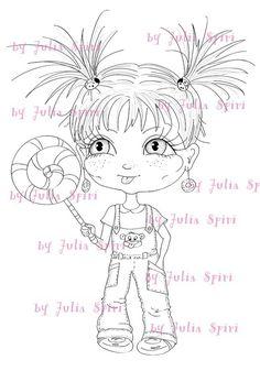 Digital Stamp, Digi Stamps, Scrapbooking printable, Childs stamps, Coloring Pages, Clip art, Digi, Line art. Sweet girl with lollipop