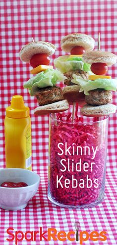 Skinny Cheeseburger Slider Kabobs. OMG, how cute are these?? Perfect for cookouts and summer parties! | via @SparkPeople #cheeseburger #recipe #bbq #summer #kabobs #sliders