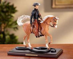 "Elvis and his horse Rising Sun, 7"" tall sculpture by Kristina Lucas Francis, 50% off, $24.95 at www.breyerhorses.com"