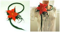 love4felt: Colier cu Poinsettia impaslita