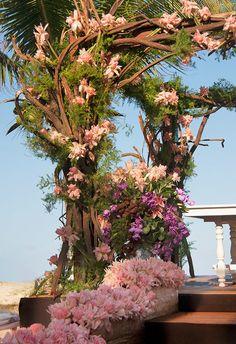 Cerimônia de casamento na praia - Decoração altar de galhos e flores rosa - Flores tropicais ( Decoração: Patricia Andrade ) #casamento #weddingdecor #casamentonapraia