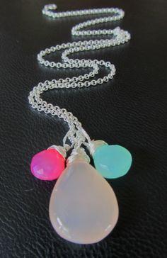 Interchangeable dangle - Pink Chalcedony pendant. chalcedony pendant, sterling silver gemstone jewelry, mix and match jewelry,  DIY Jewelry