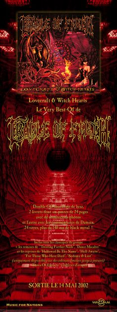 Cradle of Filth - Lovecraft & Witch Hearts Hard & Heavy strip ad. Client: Music For Nations. Circa 2002. © Sean Mowle.