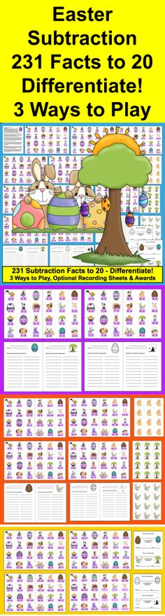 $ Easter Math Centers - Subtraction Facts Activities - 3 Ways to Play - 50 page download – 231 Subtraction Facts to 20. Differentiate!  (Addition Facts to 20 available in my other product listings .)  Designed to be printed out back to back with sets of 20 different  Easter clipart pictures printing on the reverse side. You can choose not to use the backings, and just print out the subtraction facts, optional recording sheets, and awards, or you can simply print as is and glue the backings…