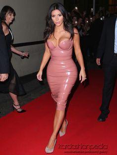 Kim Kardashian in Atsuko Kudo Latex top and skirt and Giuseppe Zanotti heels – 'Fleur Fatale' Australia Fragrance Launch @atsukokudolatex