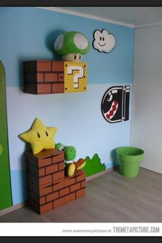 Super Mario inspired bedroom for kids! Love this idea! how cute!