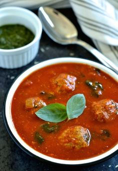 Italian Meatball Tomato Soup {Guest Post by Not Enough Cinnamon}
