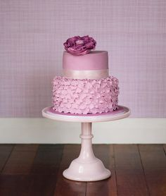 Cute pink petal cake - Love the color on this one! It's not pink and not purple. It's like in between