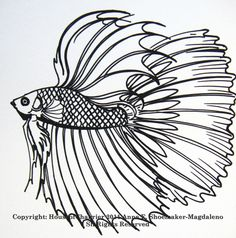betta coloring Pages | here are some of my line fish drawings to show