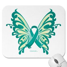 Ovarian Cancer Ribbon Butterfly Mouse Mat by fightcancertees