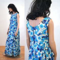 Aloha Beach 60s Hawaiian Dress M/L Vintage Maxi by MorningGlorious