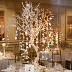 We love how the hanging orchids resemble falling snowflakes—perfect for a winter wedding!