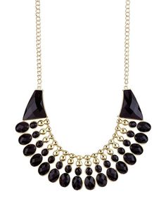Boasting nothing less than chic sophistication, this piece is a sure way to get noticed. Dazzle every eye by decorating the neckline with a bib necklace crafted with a polished finish and bold color. Chain: 16'' long with 3'' extenderBib: 2'' long14k gold-plated metal / resinImported <...