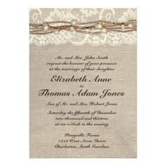 "Rustic Burlap Lace Pearls Wedding Invitation 5"" X 7"" Invitation Card"