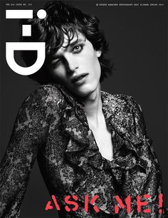 "New face Reuben Ramacher at Ford Models cover the ""Q+A"" issue of i-D magazine, photographed by Hedi Slimane and styled by Sarah Richardson"