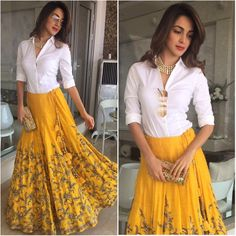 Yellow Lehenga Designs at Mirraw. Indian Gowns Dresses, Indian Fashion Dresses, Indian Designer Outfits, Indian Outfits, Designer Dresses, Designer Sarees, Indian Skirt, Dress Indian Style, Lehenga Designs