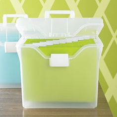I like this too!  Found at The Container Store for only $15.99.  I would use orange, lime green, and sky blue folders.