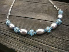 Blue necklace with silver gray pearls by firesky7 on Etsy, $13.99