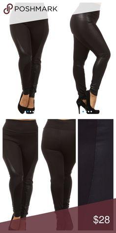 PANELED SCUBA LEGGINGS! Very flattering, high waist (hides that waist roll girls!) pants with scuba fabric inserts. Super comfy! Measurements upon request. tla2 Pants Leggings