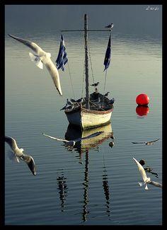 Mikri Volvi lake in Central Macedonia, Greece.