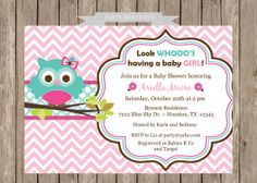 Owl Baby Shower Invitation for Girl-Pink, Chevron, Flowers, Printable on Etsy, $14.00