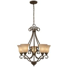Shop Portfolio 5 -Light Linkhorn Iron Stone Chandelier at Lowes.com